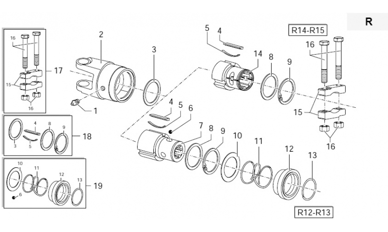 "Kit Collar R12-R13 to suit 1 3/4"" 20 Spline Overrun Clutch"