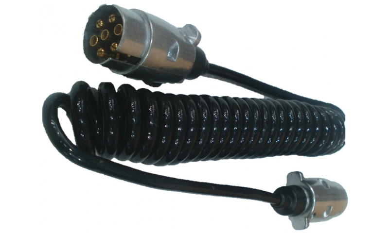 Spiral Cable Complete with 7-Pin Metal Plugs 12v