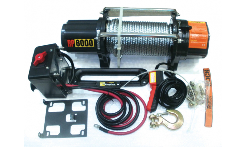 12V 8000lbs Electric Winch 29m x 8mm cable c/w Hook & Cable Slide
