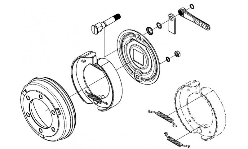 Brake Assembly, Cap, Retaining Ring, Washer & Nut