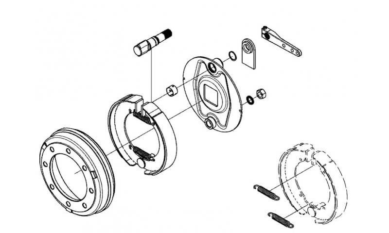 Brake Assembly, Camshaft Bush, Retaining Ring, Washer & Nut