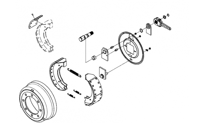 Brake Assembly,  Camshaft Bush, O-Ring, Grease Nipple, Retaining Ring, Rubber Cover, Washer & Nut
