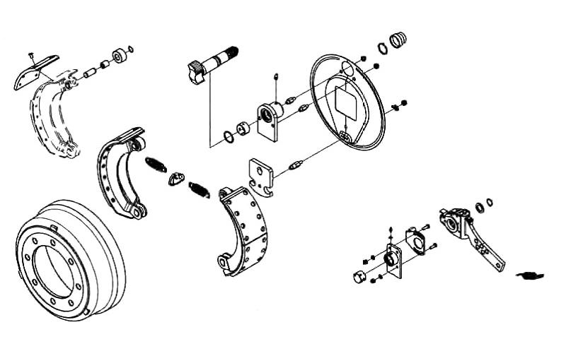 Brake Shoe Complete, Spring & Twist Lock