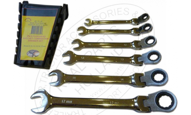 6 Piece Flexi Ratchet Spanner Set Metric